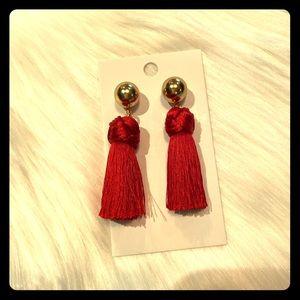 J Crew Red Tassel Earrings